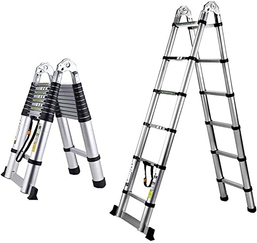 SZHXH Escalera portátil for Interiores y Exteriores 250 + 250 cm Larga Escalera telescópica de aleación de Aluminio Escalera Plegable Escalera Ingeniería: Amazon.es: Hogar