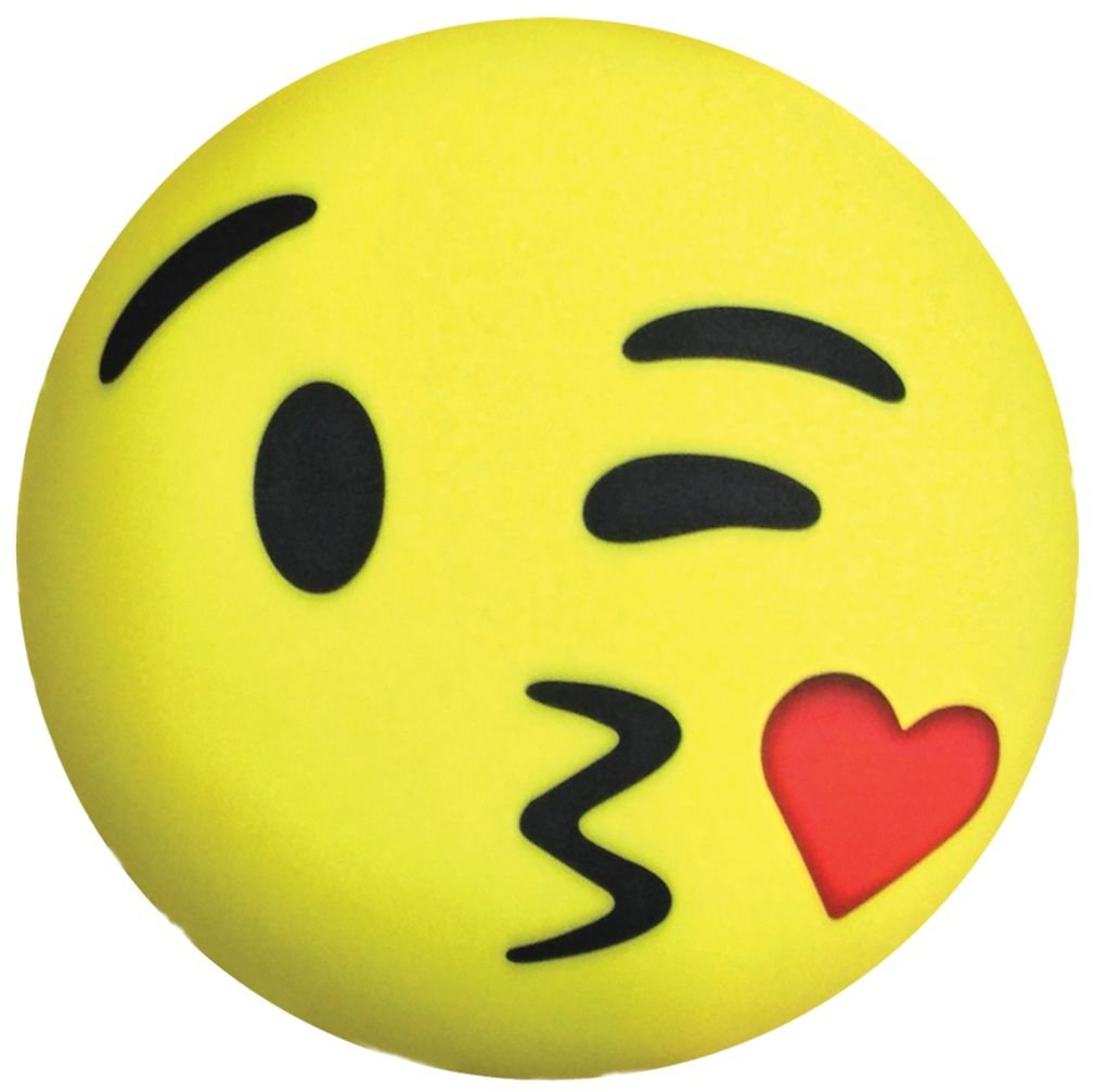 iscream X-Pressive! Emoji Love U Kissy Face 11'' x 11'' Microbead Accent Pillow by iscream