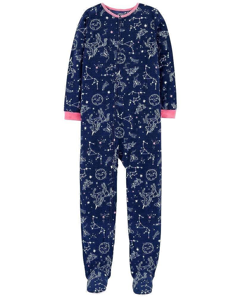 Carters Girls 1-Piece Zippered Gripper Footie Fleece Pajamas