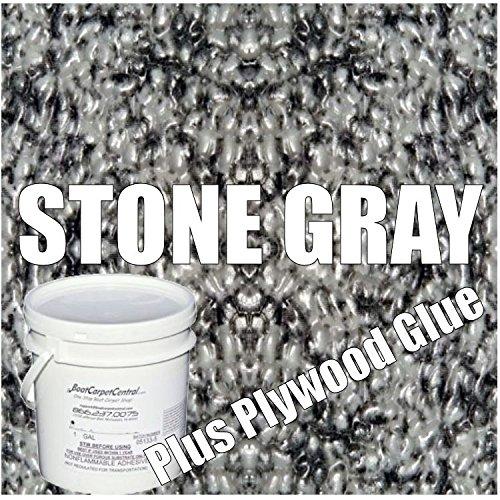 34 MIL Seamless Marideck Vinyl Flooring (Stone Gray- Plus Marine PlywoodGlue, 20) (Marine Flooring Vinyl)