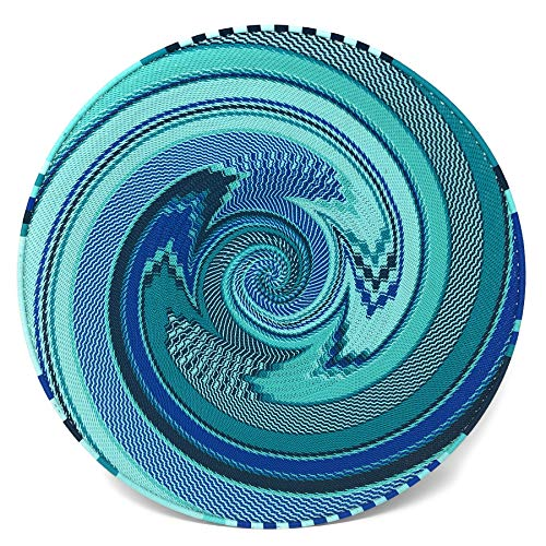 - Bridge for Africa Fair Trade Zulu Telephone Wire 16-inch Platter Basket, African Ocean, Intricate Swirl