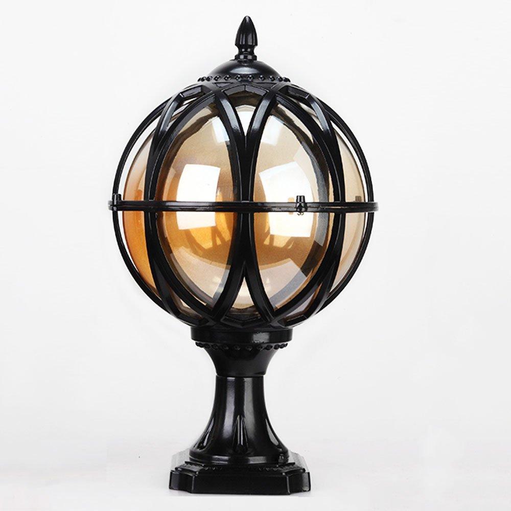 TZZ 屋外の列のランプヨーロッパのヴィラの防水の錆の金属のアルミの列のランプ屋外照明高級なレトロな庭のフェンスの芝生のランプの列の列のバルコニーのled球 (色 : ブラック, サイズ さいず : L l) B07RKMKRF5 ブラック L l