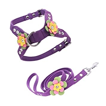 B Blesiya Dog Flower Decorative Leash Harness Set, Adjustable ...