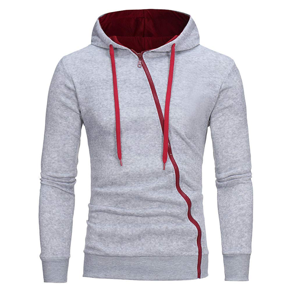 Rambling New Mens Warm Slim Fit Long Sleeve Zip-up Hoodie Sweatshirt Tops