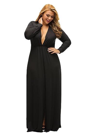 Damen plus Größe schwarz tiefer V-Ausschnitt Lange Ärmel Maxi Kleid ...