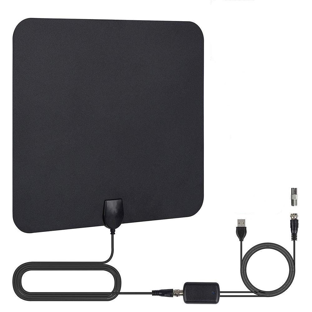 TV Antenna, 2019 Newest HDTV Indoor Digital Amplified Antennas,50-80 Miles Long Range with Amplifier Signal Booster for 1080P 4K Free TV Channels, Amplified 13ft Coax Cable