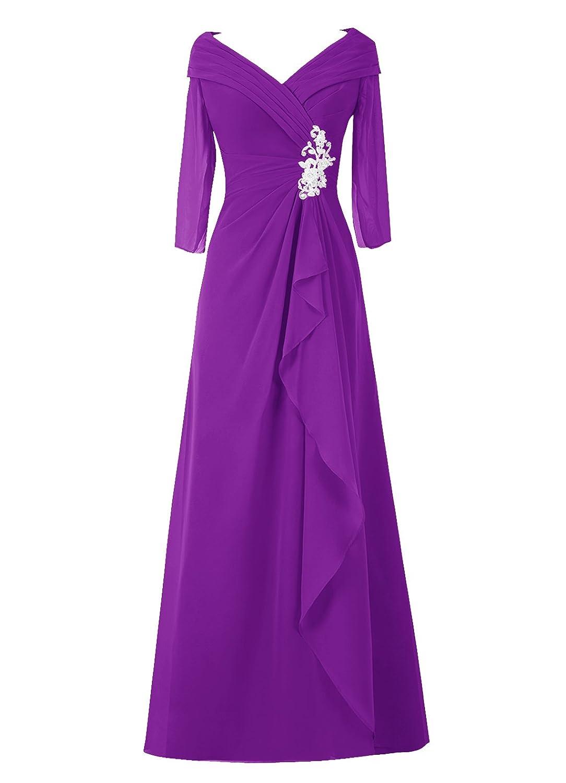 Dresstell レディーズ ロング丈 結婚式ドレス 披露宴ドレス 長袖 アップリケ付き お呼ばれ フォーマルドレス シンプルシフォン ママのタイプ 二次会ドレス B015H1E9GM JP9 パープル パープル JP9