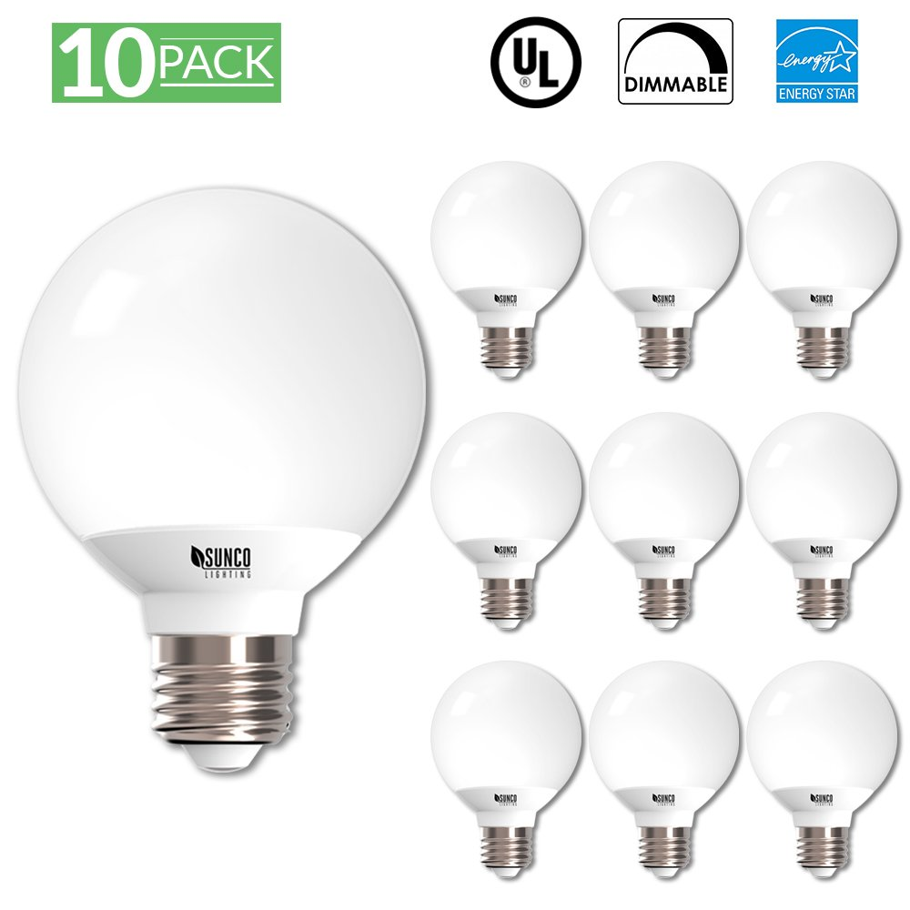 Sunco Lighting 10 Pack G25 LED Light Globe LED Light Bulb 6 Watt 40W EQ Dimmable, 2700K Kelvin Soft White, 450 Lumens, Omnidirectional Vanity Mirror Light, Energy Efficient - UL & ENERGY STAR LISTED