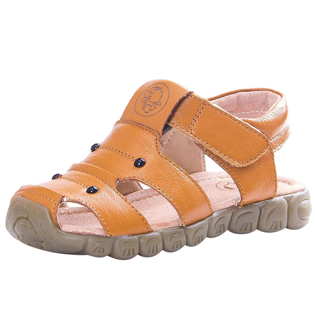 Soft Motion Fisherman Sandal,Girls Shoes PU Princess Flat Shoes Summer Slippers Closed Toe Children Shoes Yellow