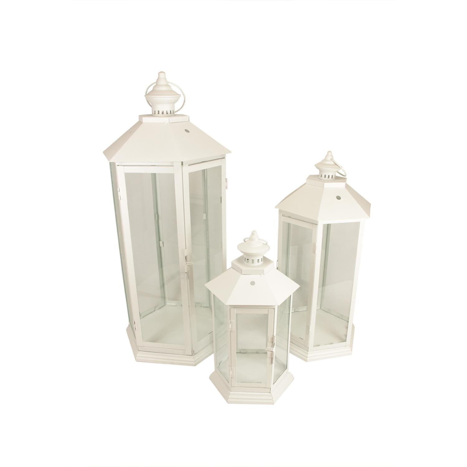 White Christmas Traditional Style Lantern Pillar Candle Holders Set of 3 | ChristmasTablescapeDecor.com