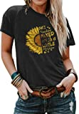 Cicy Bell Women's Cute Sunflower Graphic T Shirts Letter Print Short Sleeve O Neck Summer Casual Cotton Tees Tops