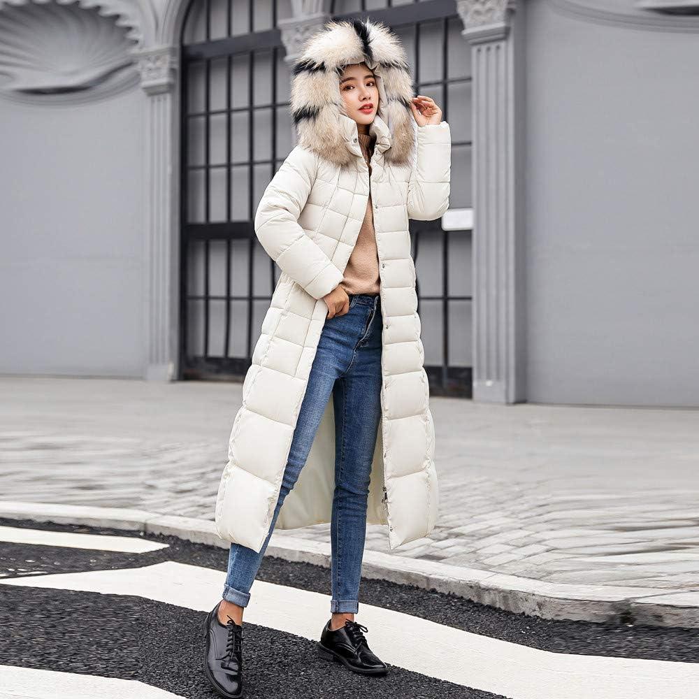 Sunyastor Hooded Down Jacket Women,Fashion Long Cotton-Padded Fur Collar Coat Winter Pocket Outerwear