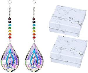 2 PCS Teardrop Crystal Suncatchers Rainbow Glass Feng Shui Crystals Prism Pendant Suncatchers Crystal Chandelier Drops Chakra Sun Catchers for Windows Car Garden Home Decoration Hanging Ornament