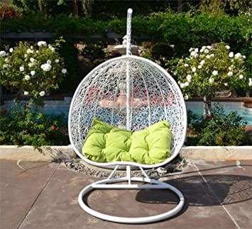 Egg Nest Shaped Wicker Rattan Swing Chair Hanging Hammock 2 Persons Seater    White / Lime