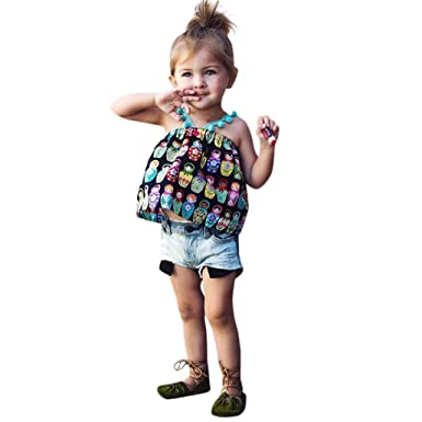 021299a92a7 Moonker 2pcs Baby Toddler Girls Kids Summer Clothing Set Cute Russian Doll  Printing Tops + Jeans