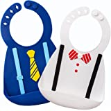 Waterproof Silicone Bib- Comfortable Soft Cute Baby Bib for Toddlers, Easily Wipes Clean after Sharing Food with Babies! Set of 2 Colors(Blue/White)