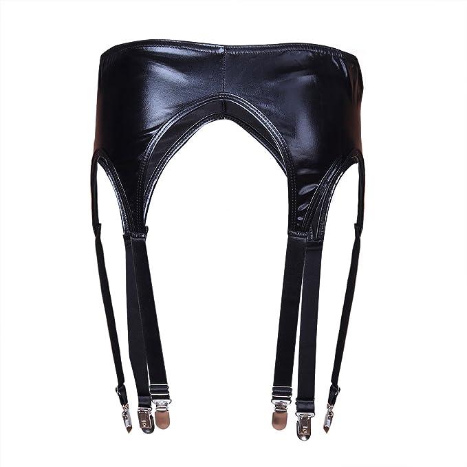 Damen Wetlook Strumpfgürtel Strumpfhalter Socken Strumpfband Panty Reizwäsche
