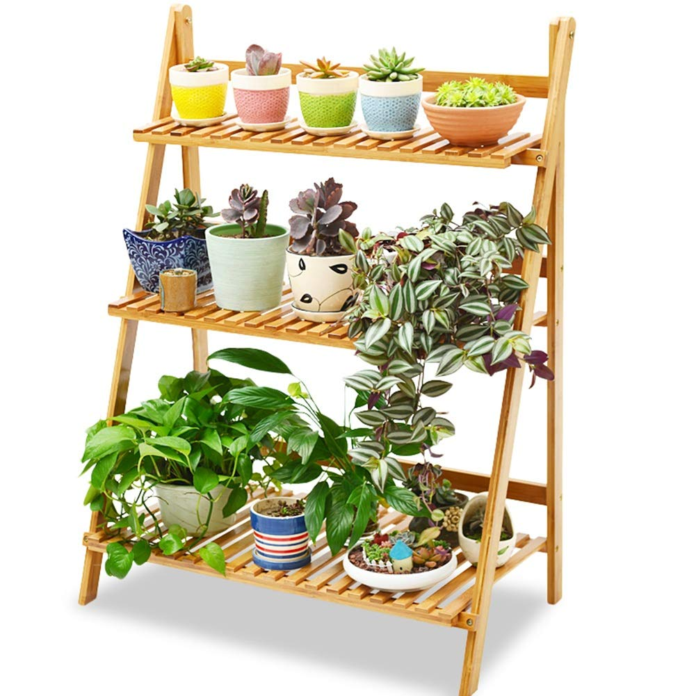 Wood-3-50 As shown Flower  Pot  Stand Plant  Stand Flower Rack Stand  Flower  Pot Solid Wood Landing Living Room Multi-Layer Fold Succulents Hollow Tingting (color   Wood-4-70, Size   As Shown)