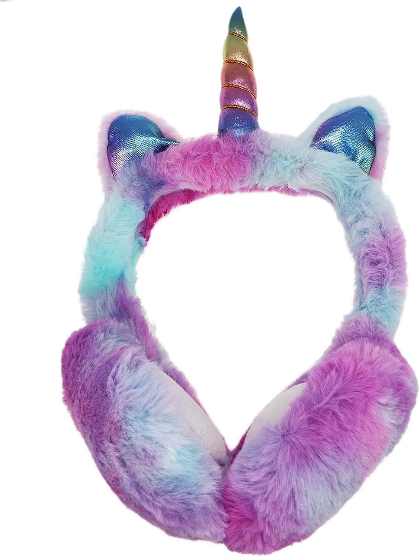 Winter Girls Foldable Unicorn Earmuffs Women Faux Fur Ear Warmers with Cute Sequins Ears Ear Cover