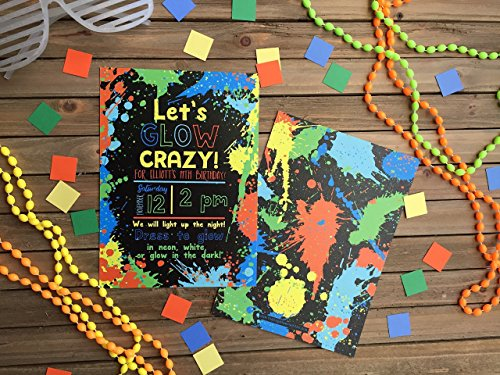 Neon Party Invitation - Set of 20 - Glow in the Dark Party Invite - Glow Party Invite - Green and Orange -