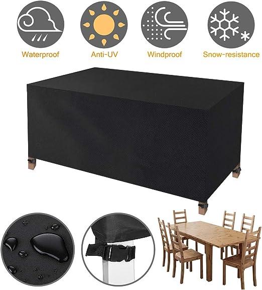 Tvird Funda para Muebles Impermeable, Funda Mesa Jardin, Cubierta para Exterior Funda Protectora Muebles Mesas Sillas Sofás Exterior 420D Oxford Impermeables Anti-Viento/UV(170 x 94 x 70CM)-Negro: Amazon.es: Jardín