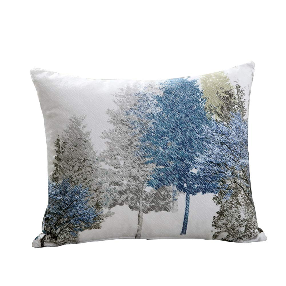 Four Seasons Thick European New Chinese Sofa Ink Painting Cushion Pillow Increase The Bed Back to The Back Cushion (Color : C)
