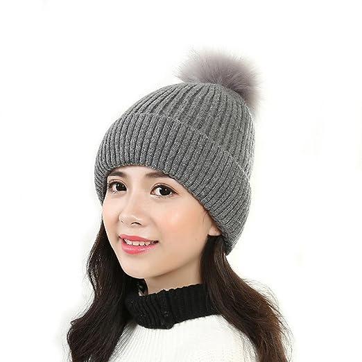 AMA(TM) Women Winter Warm Knit Crochet Hat Fur Ball Pom Pom Beanie ... e7a20fd0a66