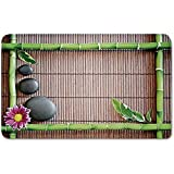 Memory Foam Bath Mat,Meditation,Spa Frame with Spiritual Stones Bamboo Stems Orchid Petals Yoga Zen PhilosophyPlush Wanderlust Bathroom Decor Mat Rug Carpet with Anti-Slip Backing,Multicolor