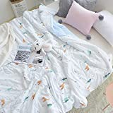 HMTOP [Latest Arrival] Deer Print Summer Quilt Blanket Air-condition Quilting Soft Washed Cotton Comforter, Lightweight Kids Cotton Blanket Tree Comforter for Summer Twin Size 59''x79''(150x200cm)