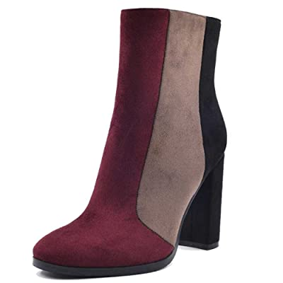 A-BUYBEA Women's Spring Autumn Shoes Colorblock Chunky High-Heel Vegan Boots