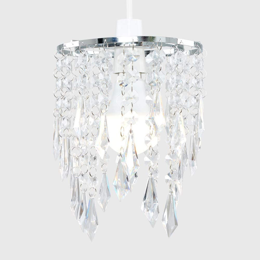 Elegant Chandelier Design Ceiling Pendant Light Shade with Beautiful Black and Clear Acrylic Jewel Effect Droplets
