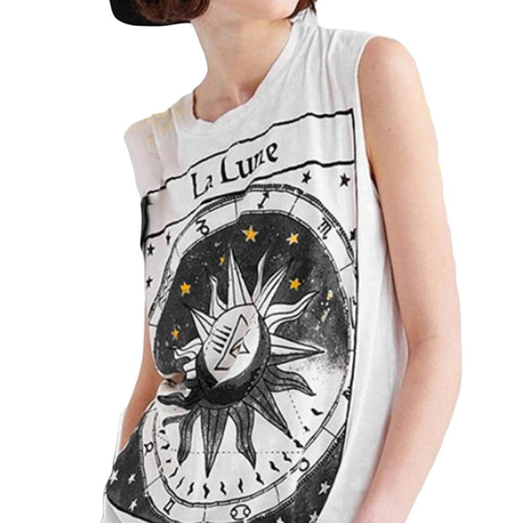 2018 New Womens Summer Top, VNEIRW Womens Fashion Star Moon Letter Printing O Neck Sleevless Loose Vest Tank Top Womens Summer Tops Clothes Tee Shirts Blouse Tops
