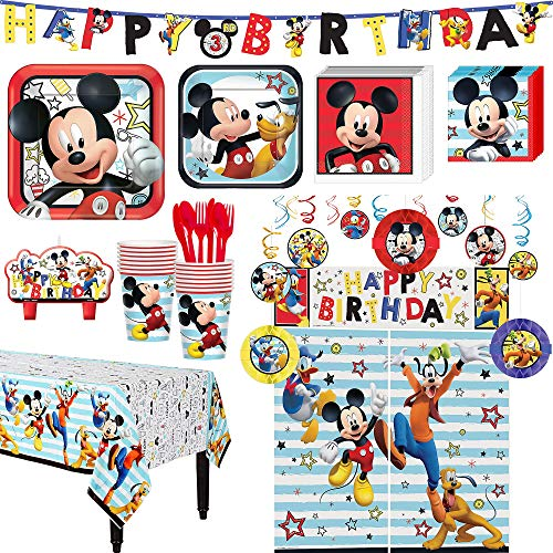 Mickey Mouse Birthday Party Kit, Includes Happy Birthday Banner and Decorations, Serves 16, by Party City