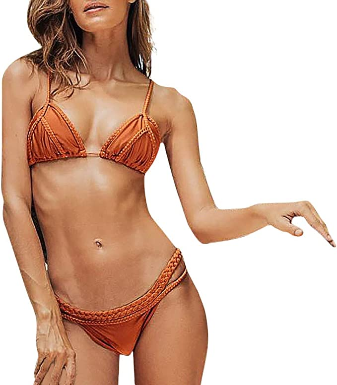 SCHOLIEBEN One-Shoulder Bikini Damen Set High Waist Push Up Oberteil Bandeau Brazilian Sexy Bustier BH Tanga Triangel Retro Thong Surf