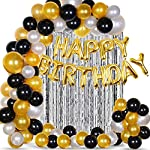 Party Propz 33Pcs Golden, Silver and Black Balloon Birthday Decorations Items Combo for Kids,Adult Birthday
