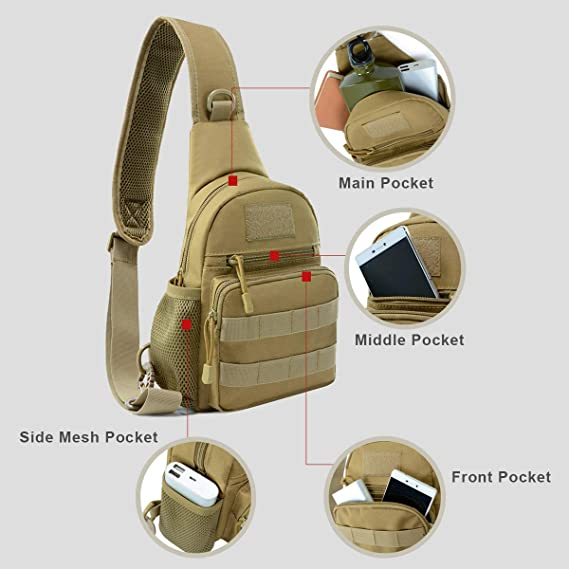 Brave Waterproof Military Tactical Sling Chest Bag Travel Hiking Molle Cross Body Messenger Backpack Shoulder Bag Casual Day Pack Sports & Entertainment