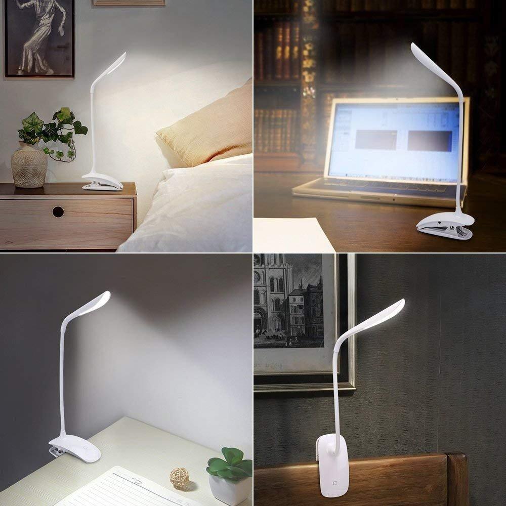 Lámpara de Escritorio LED con Pinza, LED Lámpara USB Etmury Pinza Plegable Regulable y Táctil Luz de Mesa, Lámpara de Escritorio Luz LED Regulable - Blanco [Clase de eficiencia energética A++]