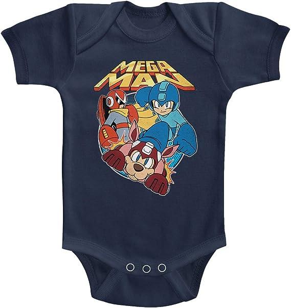 Mega Man Infant Baby Short Sleeve Bodysuit Navy Flat Colors Romper Jumpsuit