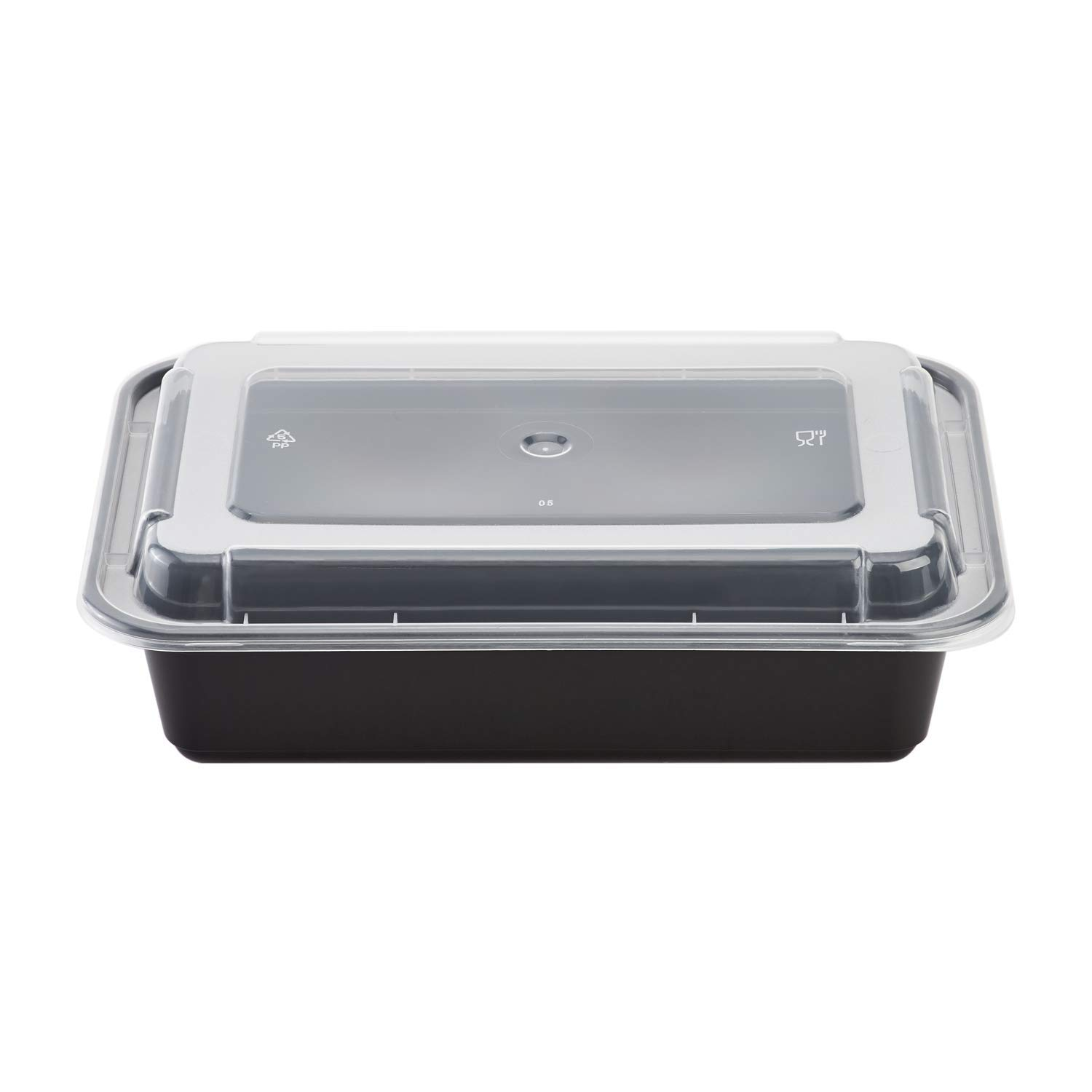 Karat IM-FC1038B 38 oz. PP Injection Molding Microwaveable Food Containers with Clear Lids, Rectangular - Black (Case of 150)