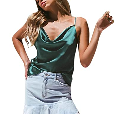 ad30a86231a7c2 TUSANG Basic Strappy Solid Tank Tops Sexy Womens Solid Color Silky Satin  Sexy Satin Camisole