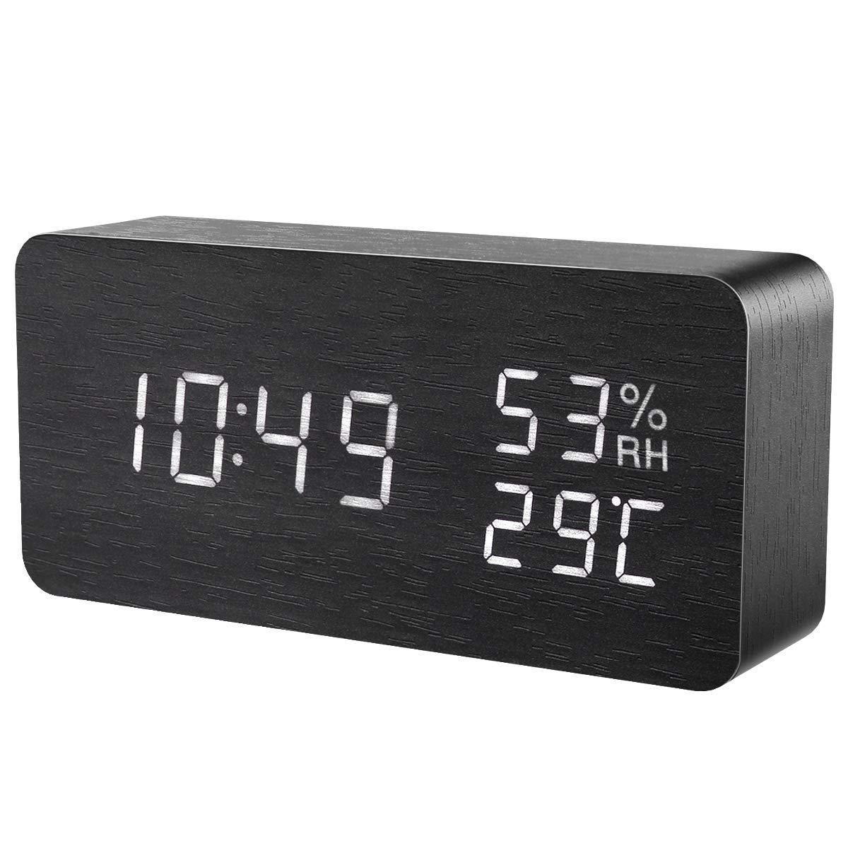 Oria Termometro Igrometro Digitale, Interno Misuratore per Temperatura e Umidità, con Grande Retroilluminato LCD, Sveglia, Icona Comfort, Hourly Chime, Snooze, Calendario per Stanza Bambino, Ufficio