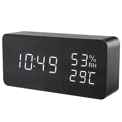 ORIA Reloj Digital Despertador de Madera, Digital Alarma Despertador con Tiempo Fecha y Año, Temperatura Humedad, ...