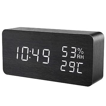 ORIA Reloj Digital Despertador de Madera, Digital Alarma Despertador con Tiempo Fecha y Año,