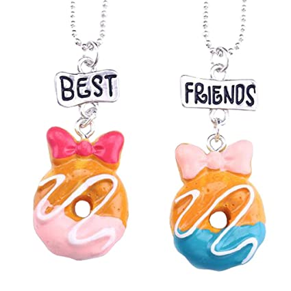 ba3697dc87 Amazon.com: Biscuit Cake Food Pendant Princess Necklace Best Friends Jewelry  Set for Kids Girls Gift