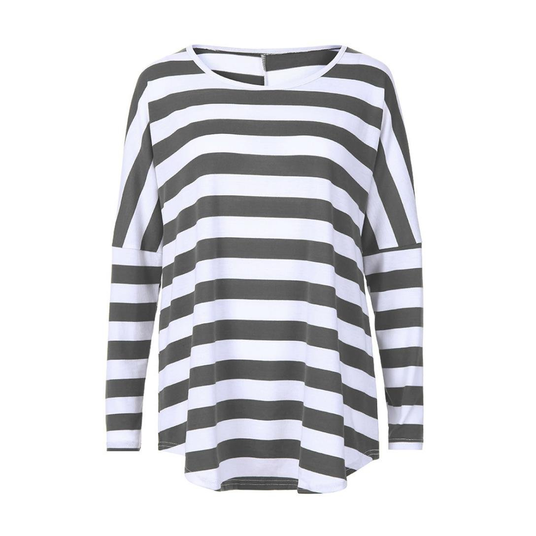 iTLOTL Women Casual Loose Striped Three Quarter O-Neck T Shirts Tops Blouse iTLOTL TOPS NO.1