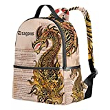 Dragon Print Unisex Rucksack Canvas Satchel Casual Daypack,School College Student Backpack