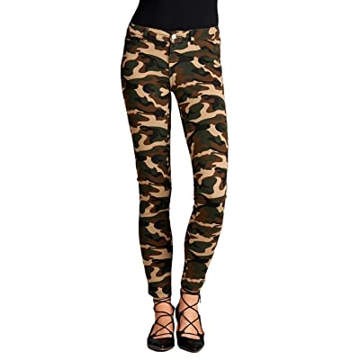 2LUV Women's Camouflage 5 Pocket Stretch Ponte Pants Camo Olive S at Women's Clothing store
