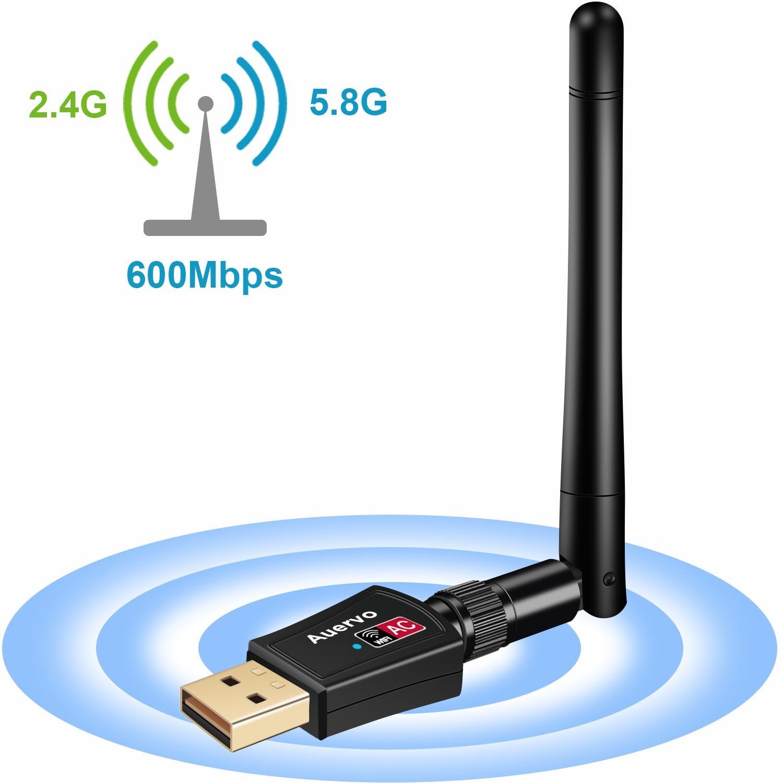 Auervo Clé USB WiFi, USB WiFi Adaptateur AC600 Dual Band 433Mbps ou 2.4GHz 150Mbps Wireless Adaptateur avec 2dBi antenne pour Win 10/8/7/XP/Vista/2000/Mac Os X 10.4-10.12 product image