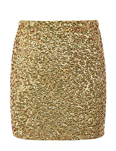 PrettyGuide Women's Sequin Skirt Stretchy Bodycon Shiny Mini Skirt Club Skirt XL Gold