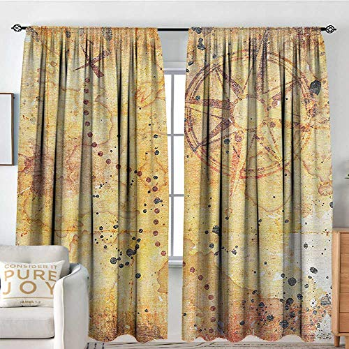 rapes Island Map,Antique Treasure Map Grunge Rusty Style Parchment Print History Theme Boho Design,Beige,All Season Thermal Insulated Noise Reduce Curtains 54